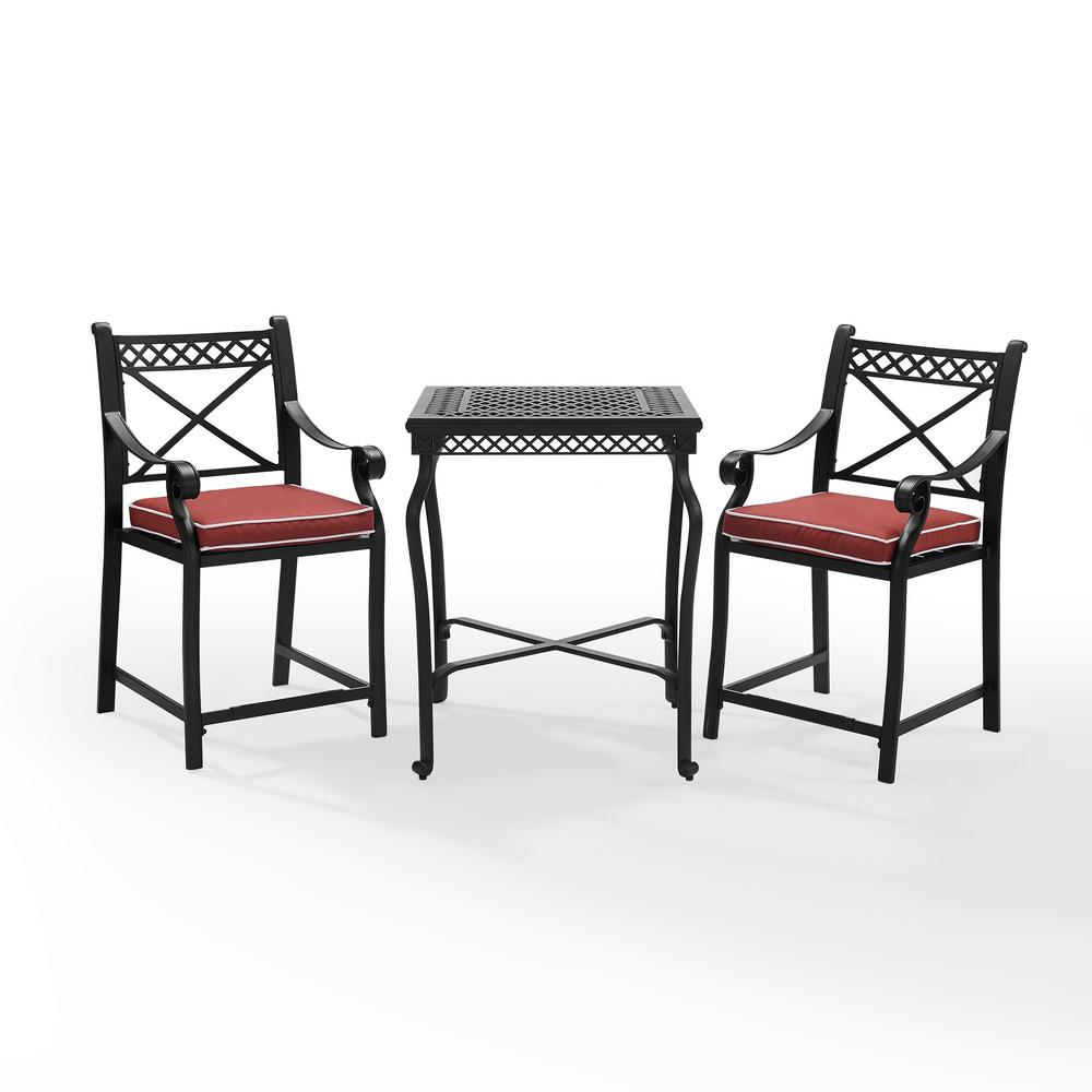 Portofino 3 Piece Cast Aluminum Bistro Set With Sangria Cushions