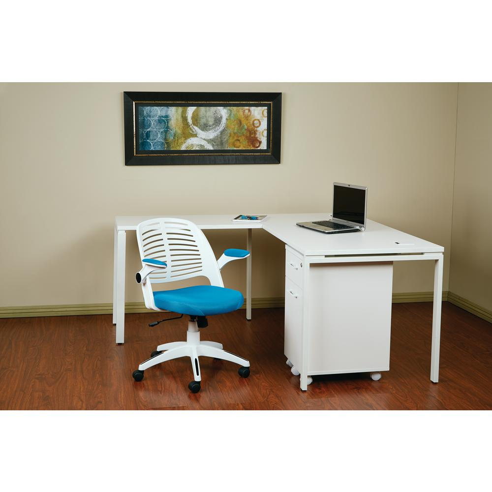 Blue And White Office: Ave Six Tyler White And Blue Office Chair-TYLA26-W7