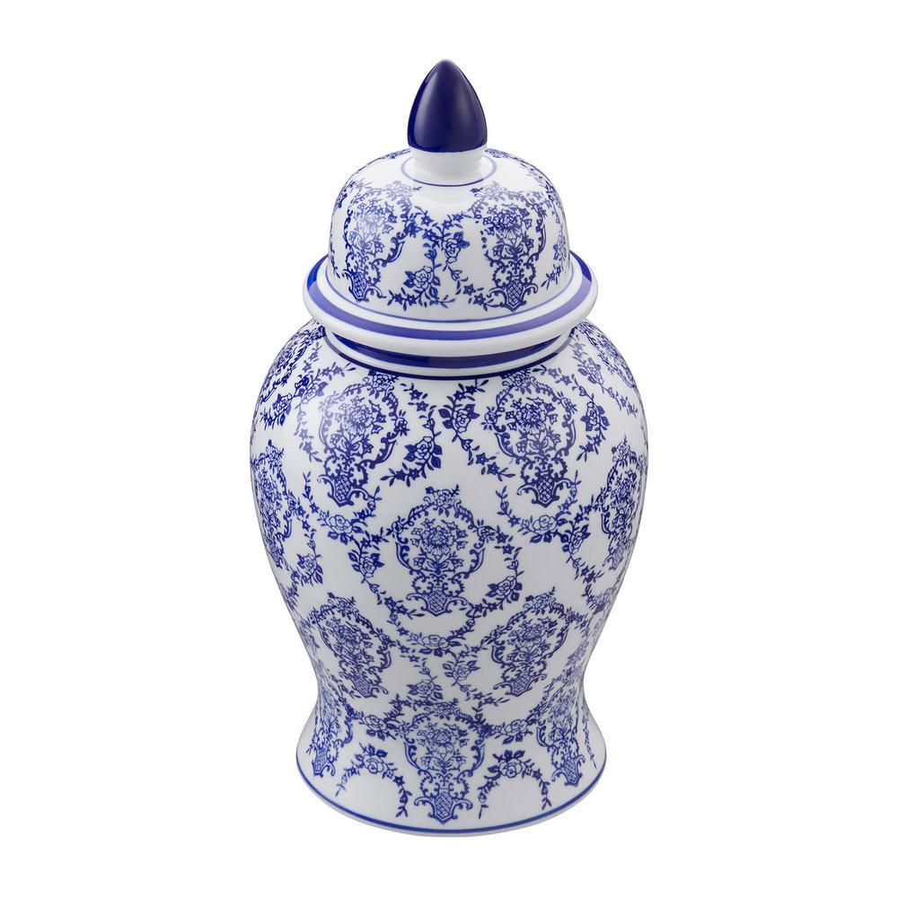 White and Blue Decorative Temple Jar