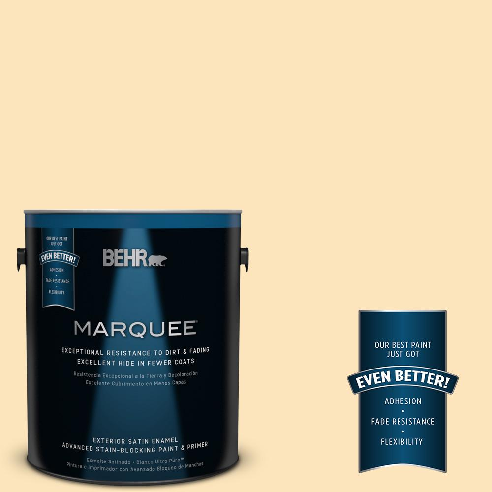 BEHR MARQUEE 1-gal. #350C-2 Banana Cream Satin Enamel Exterior Paint