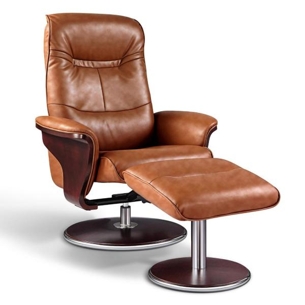 ARTIVA Milano Modern Bend Wood Brown Leather Swivel Recliner with Ottoman