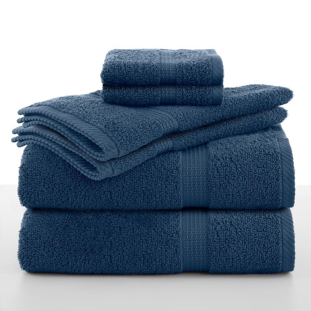 Essentials 6-Piece Cotton Towel Set in Blue