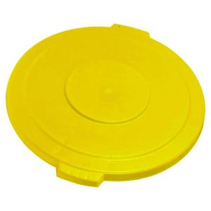 Click here to buy Carlisle Bronco 20 Gal. Yellow Round Trash Can Recycle Lid with 8 inch Hole (6-Pack) by Carlisle.