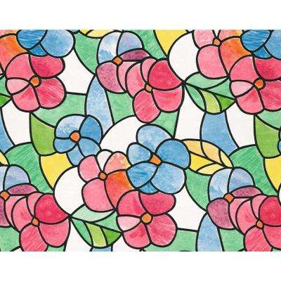 17 in. W x 78 in. H Lisboa Red  Self Adhesive Stained Glass Window Film (2-Pack)
