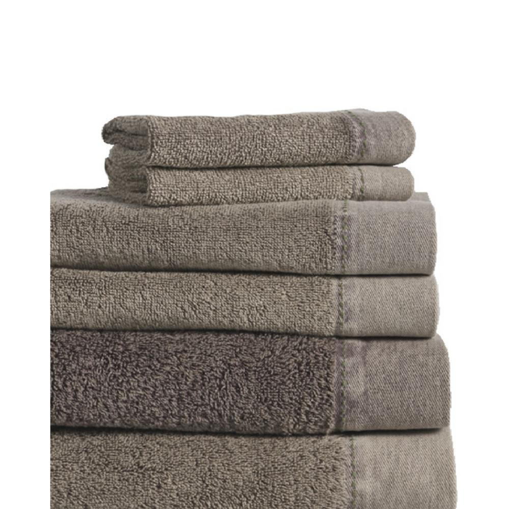 MO Stonewash 6-Piece 100% Cotton Bath Towel Set in Charcoal