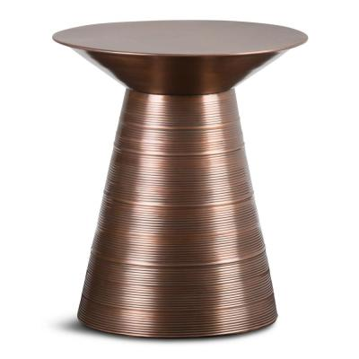 Sheridan Contemporary Round 18 in. Wide Metal Accent Accent Side Table in Aged Copper
