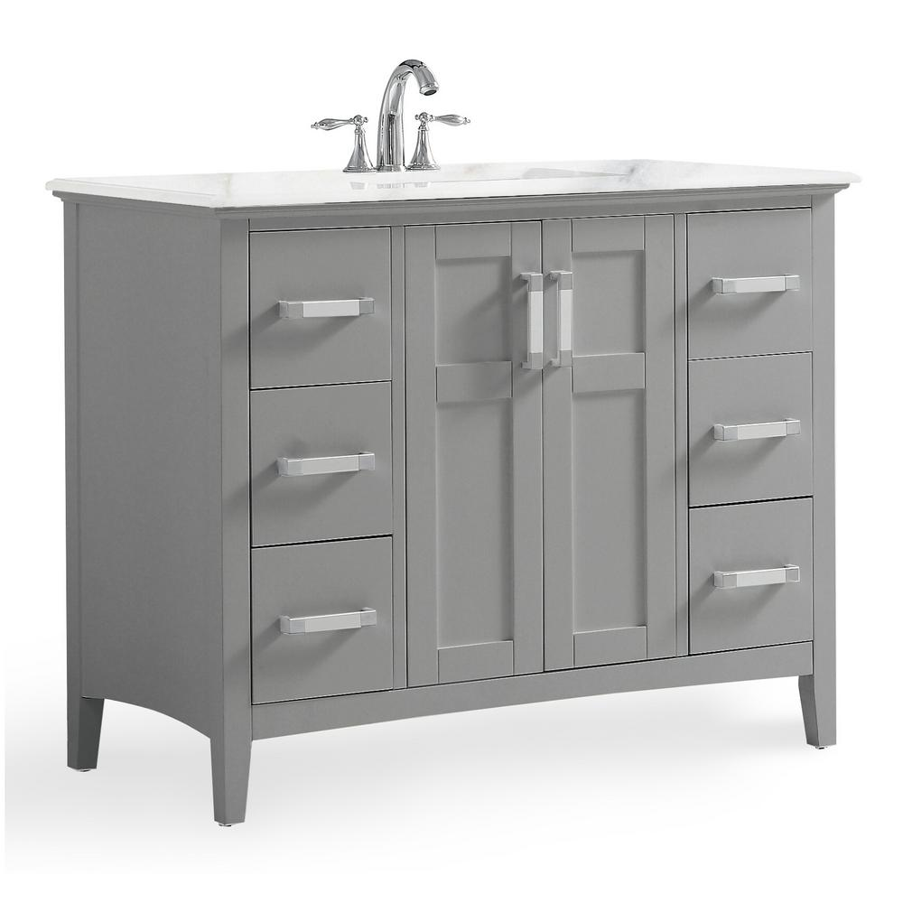 simpli home winston 42 in. bath vanity in warm grey with