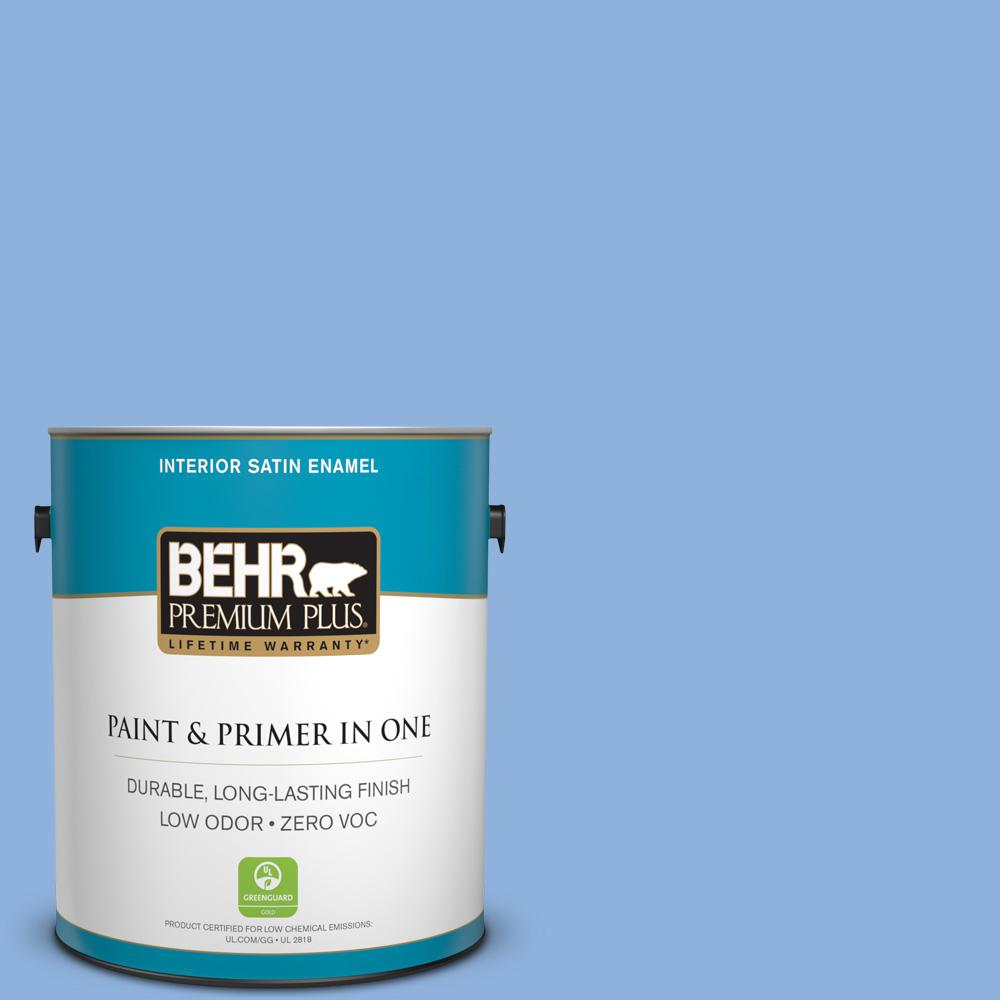 580b 5 Cornflower Blue Satin Enamel Low Odor Interior Paint And Primer In One 740001 The Home Depot