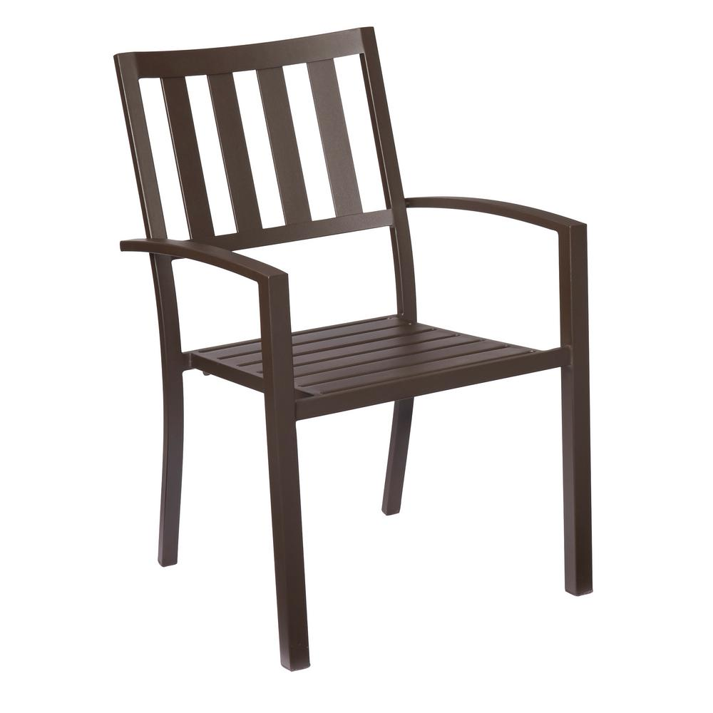 Hampton bay mix and match brown stackable metal outdoor for Stackable dining room chairs