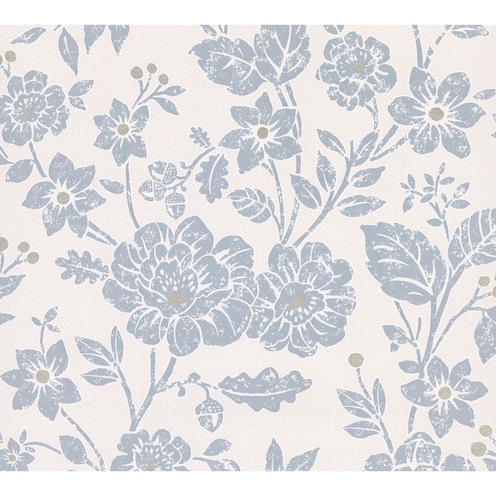 Advantage Bourdain Slate Floral Wallpaper 2813 M1350 The Home Depot