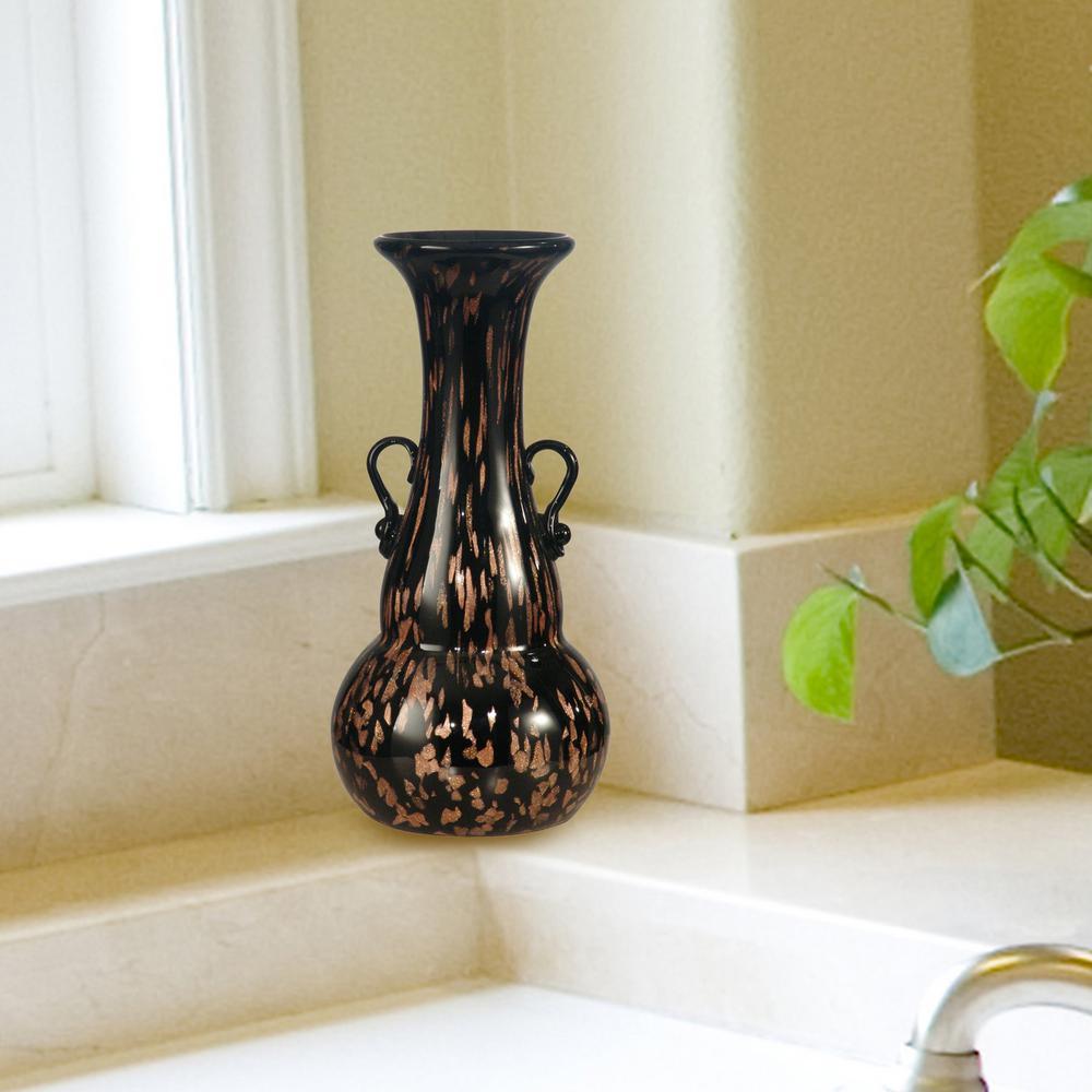 9.75 in. Malachi 2-Piece Black Hand Blown Art Glass Vase Set