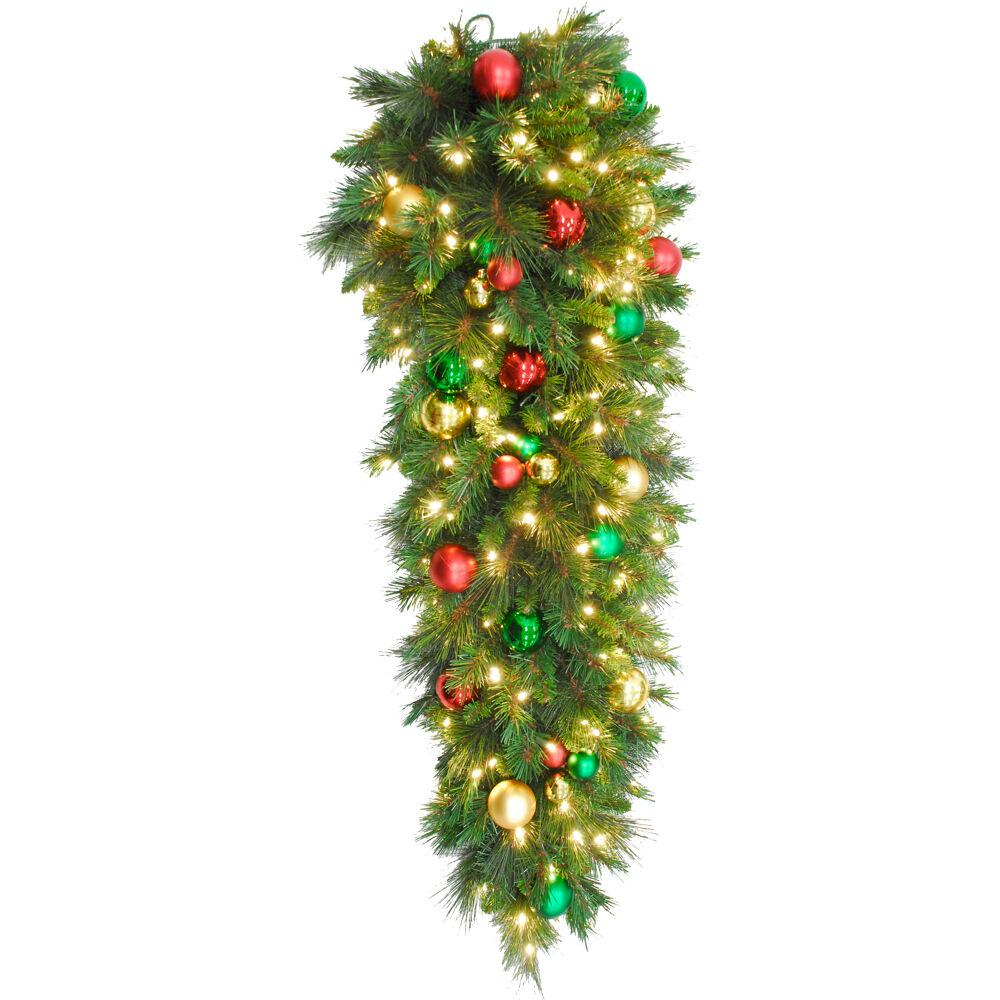 Northlight 24 Pre-Decorated Red and Gold Ball Ornaments and Bows Artificial Christmas Teardrop Swag Unlit