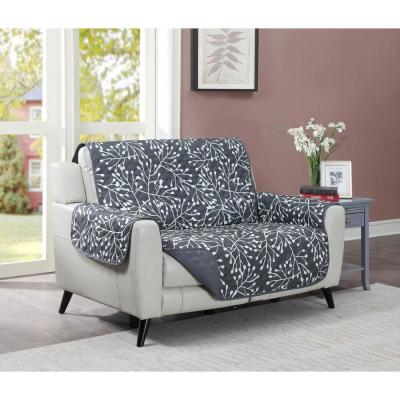 Branches Graphite Microfiber One-Piece Relaxed Fit Love Seat Furniture Protector
