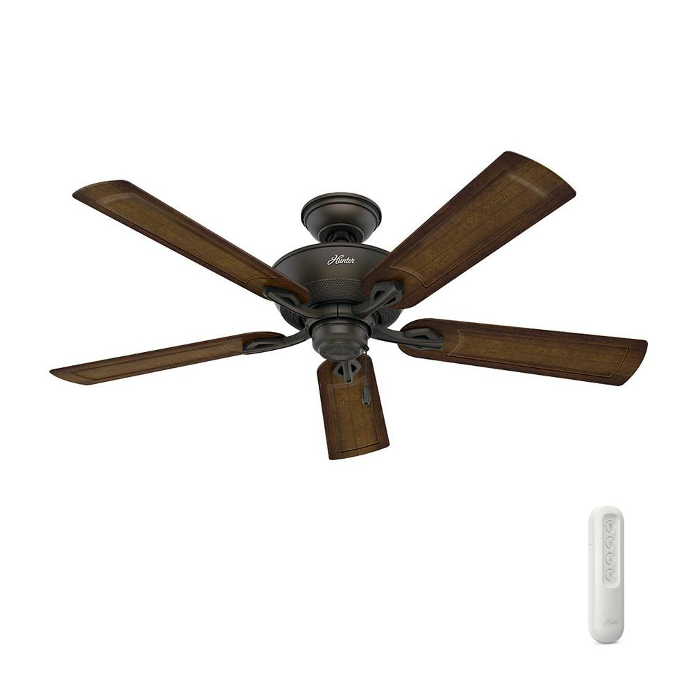 Hunter Caicos 52 in. Indoor/Outdoor New Bronze Wet Rated Ceiling Fan Bundled with Handheld Remote Control
