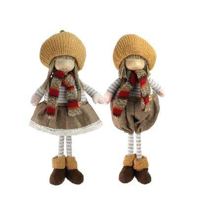 15 in. 2-Piece Set of Thanksgiving Autumn Standing Boy and Girl Gnomes with Pumpkin Hats