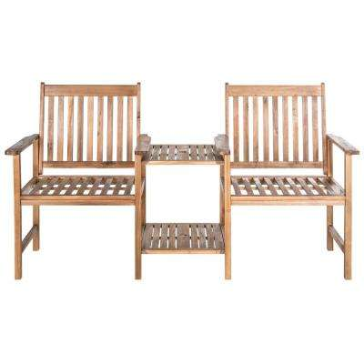 Brea 2-Person Natural Wood Outdoor Bench
