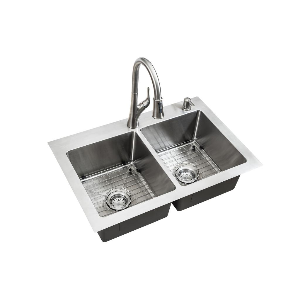 Reviews For Glacier Bay All In One Dual Mount Stainless Steel 33 In 2 Hole 50 50 Double Bowl Kitchen Sink In Brushed Finish Vdr3322a0 The Home Depot