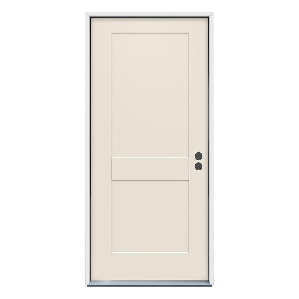 36 in. x 80 in. 2-Panel Craftsman Primed Steel Prehung Left-Hand Inswing Front Door