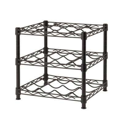 12-Bottle Black Floor Wine Rack