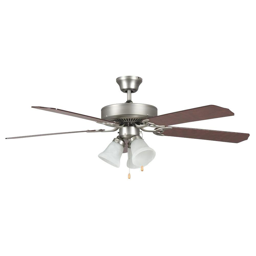 Radionic Hi Tech Tutor 42 in. Satin Nickel Ceiling Fan with Light Kit and 5 Blades