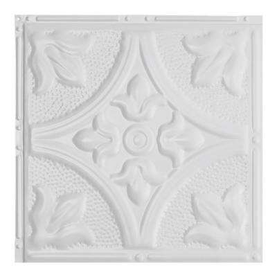 Jamestown Matte White 12 in. x 12 in. Nail-Up Ceiling Tile Sample