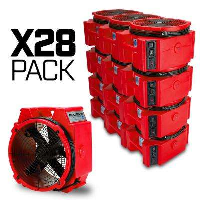 PB-25 1/4 Polar Axial Blower Fan High Velocity Air Mover for Water Damage Restoration Red (28-Pack)