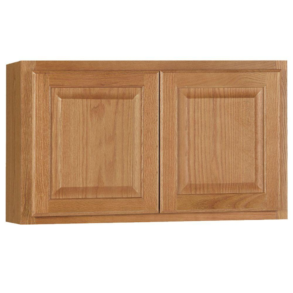 Hampton bay hampton assembled 30x18x12 in wall bridge for Home depot kitchen cabinet promotions