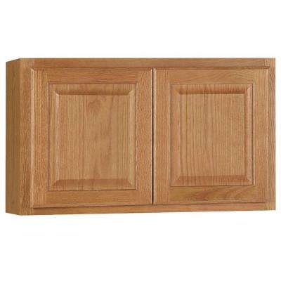 Hampton Assembled 30x18x12 in. Wall Bridge Kitchen Cabinet in Medium Oak