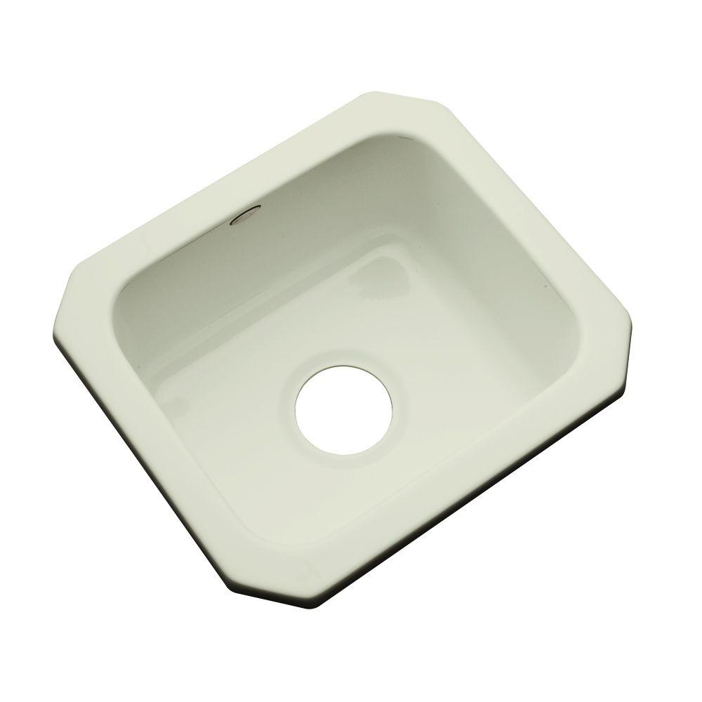 Thermocast Manchester Undermount Acrylic 16 in. 0-Hole Single Basin Entertainment Sink in Jersey Cream