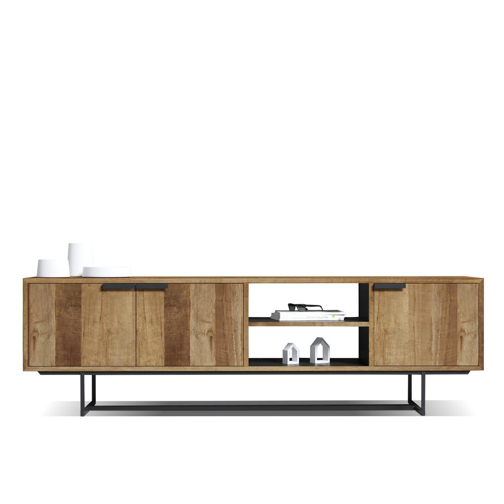 Urban Woodcraft Parisian Factory Multi-Coloured Teak Reclaimed Wood 78in Accent Cabinet TV Stand