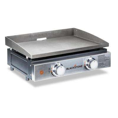 22 in. 2-Burner Propane Gas Table Top Griddle in Stainless Steel