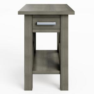 Kitchener Solid Wood 14 In Wide Rectangle Contemporary Narrow Side Table Farmhouse Grey