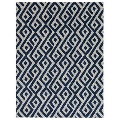 Printed Abstract Blue/White 6ft. x 8 ft. Indoor/Outdoor Area Rug