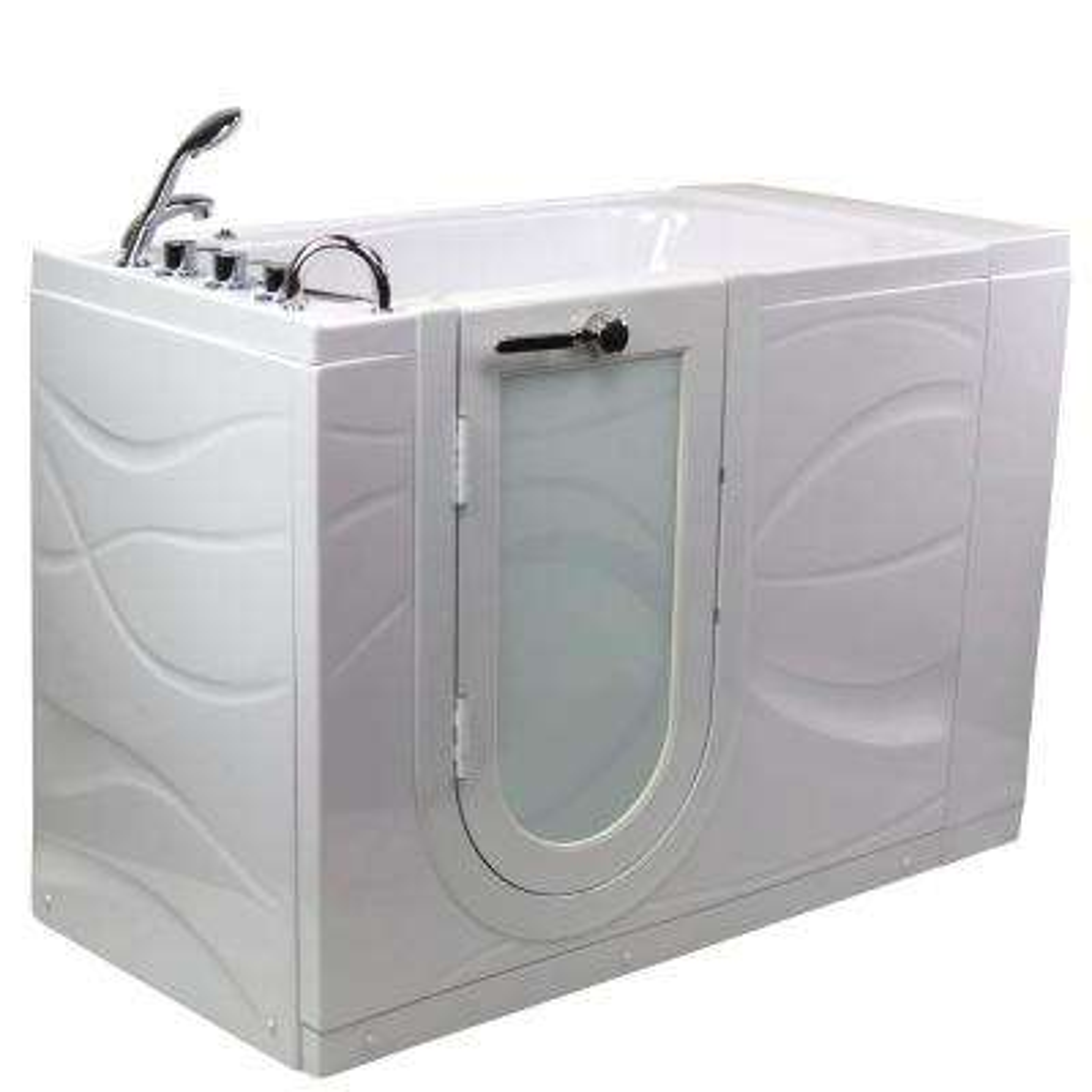 Zen 52 in. Acrylic Walk-In MicroBubble Air Bath Bathtub in White with LH Outward Swing Door, Faucet, LH 2 in. Dual Drain