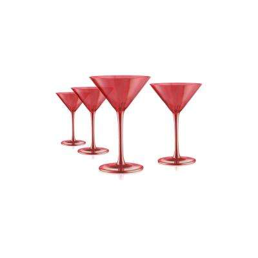 Luster Ruby Martini 11 oz. Glasses (Set of 4)