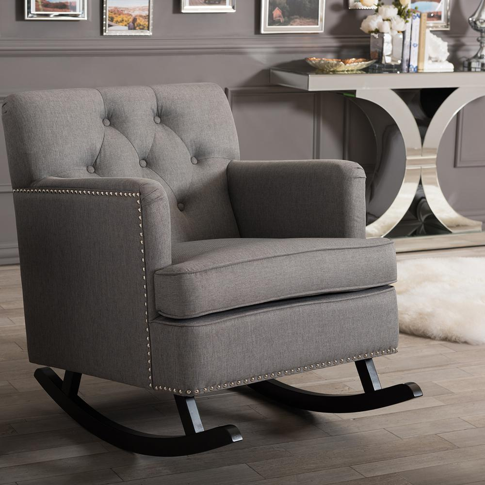 Baxton Studio Bethany Contemporary Gray Fabric Upholstered Rocking Chair 28862 6760 HD    The Home Depot