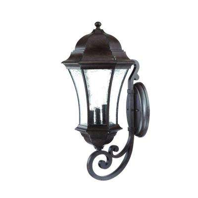 Waverly Collection 3-Light Black Coral Outdoor Wall-Mount Light Fixture