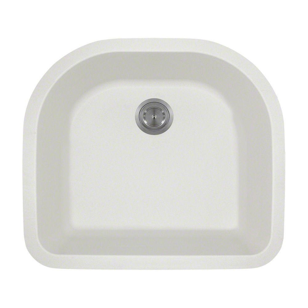 white undermount single bowl kitchen sink mr direct undermount composite 25 in single bowl kitchen 2117