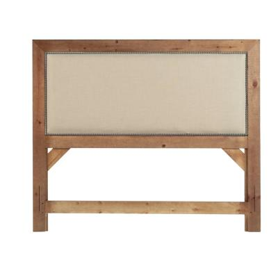 Willow Distressed Pine King Upholstered Headboard