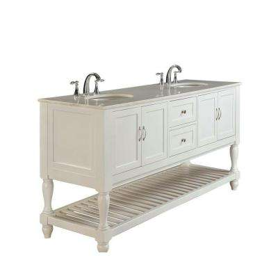 Mission Turnleg 70 in. Double Vanity in Pearl White with Marble Vanity Top in White