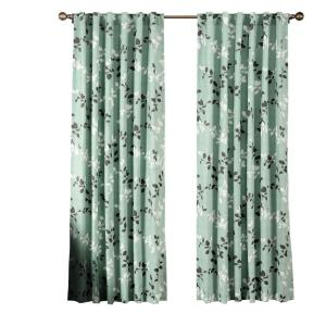 Window Elements Semi-Opaque Meridian Printed Cotton Blend 84 inch L Rod Pocket and Back Tabs Curtain Panel Pair, Harbor... by Window Elements