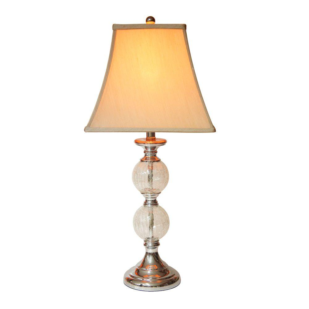 Exceptionnel Hampton Bay Mix And Match Chrome And Glass Orb Table Lamp With Grey Square  Bell Shade
