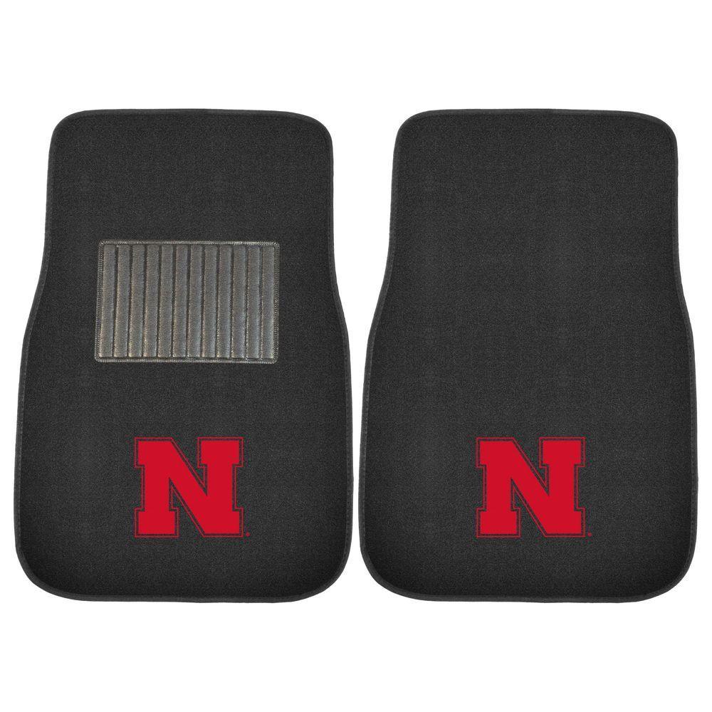 NCAA University of Nebraska 2-Piece 17 in. x 25.5 in. Carpet Embroidered Car Mat