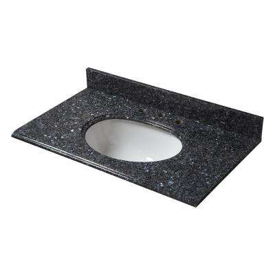 37 in. Granite Vanity Top in Blue Pearl with White Basin