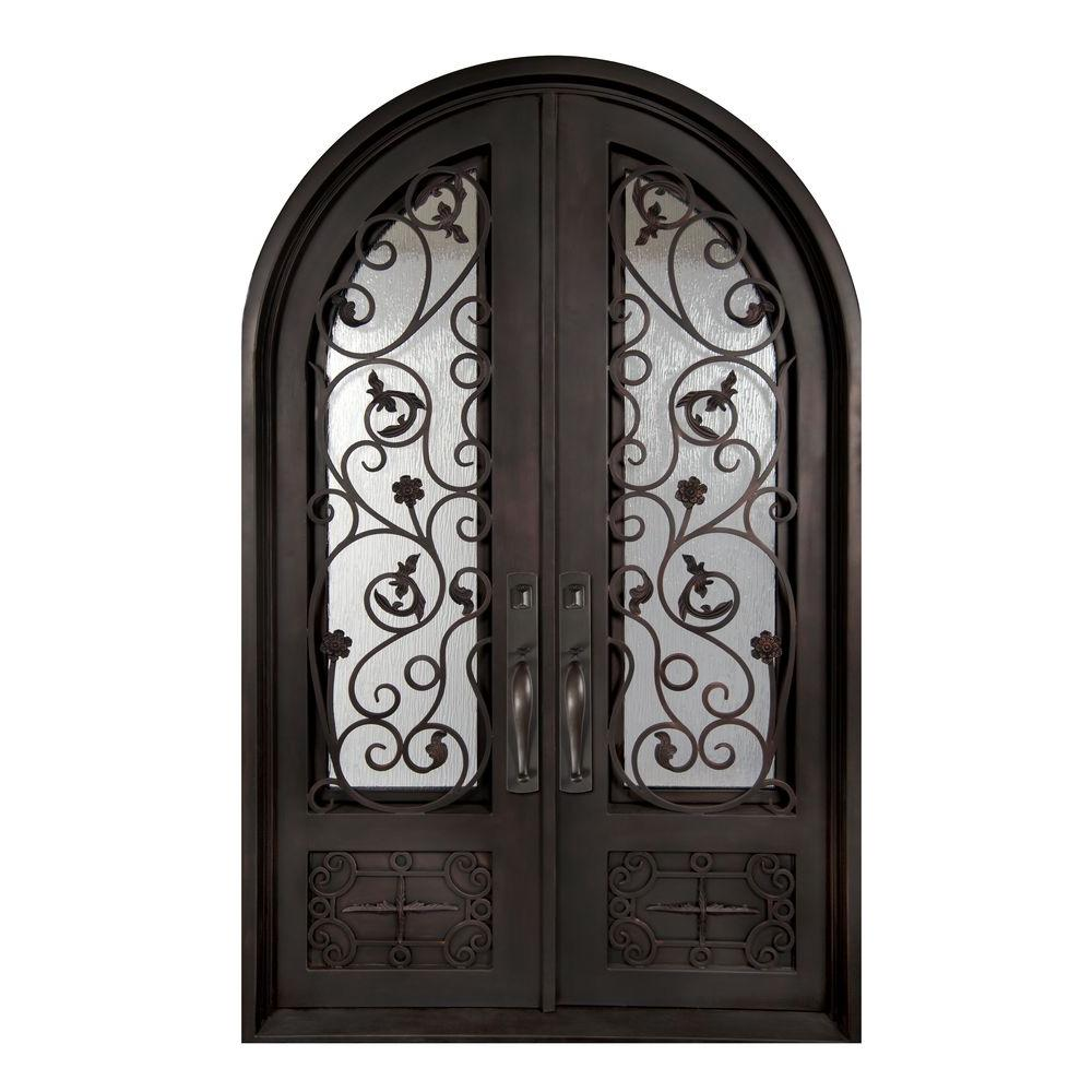 Iron Doors Unlimited 74 in. x 110 in. Fero Fiore Classic 3/4 Lite Painted Oil Rubbed Bronze Rain Wrought Iron Prehung Front Door