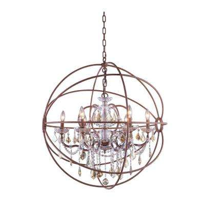 Geneva 6-Light Rustic Intent Chandelier with Golden Teak Smoky Crystal