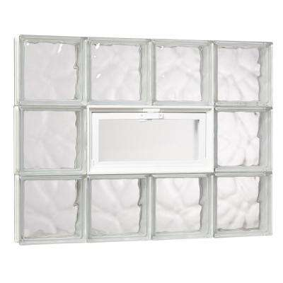 31 in. x 23.25 in. x 3.125 in. Wave Pattern Glass Block Masonry Window with Vent