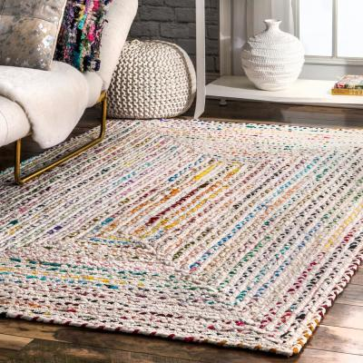 Tammara Colorful Braided Ivory 5 ft. x 8 ft. Area Rug