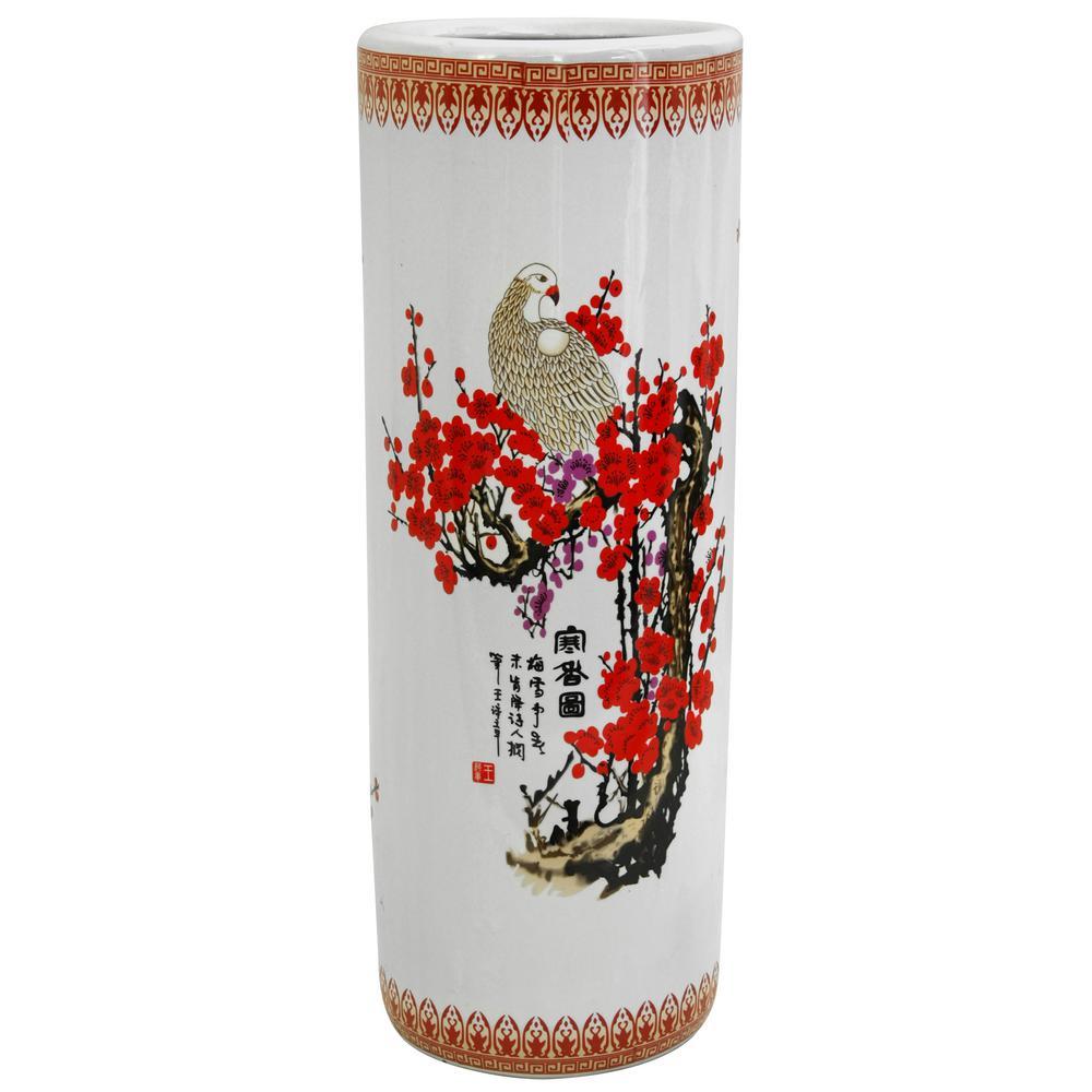 Oriental Furniture 23.5 in. Porcelain Decorative Vase in White