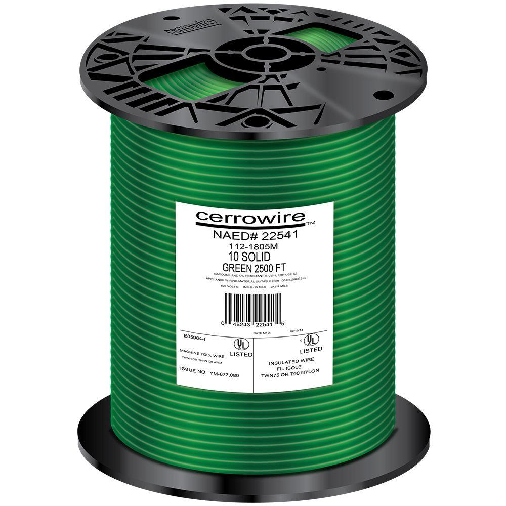 10-Gauge Green Solid THHN Wire